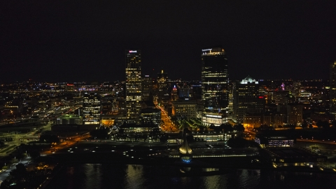 DXP002_157_0002 - Aerial stock photo of A view of tall skyscrapers at night, Downtown Milwaukee, Wisconsin