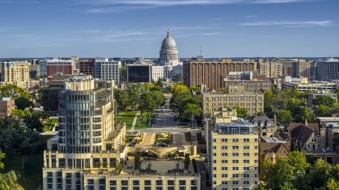 DXP002_160_0002 - Aerial stock photo of Apartment buildings and the capitol building, seen from hotel in Madison, Wisconsin