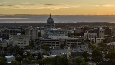 DXP002_161_0003 - Aerial stock photo of The capitol dome at sunset, Madison, Wisconsin