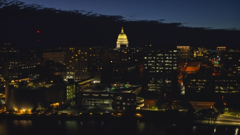 DXP002_162_0001 - Aerial stock photo of The capitol dome and downtown buildings at twilight, Madison, Wisconsin