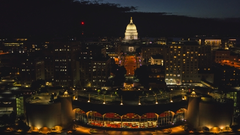DXP002_162_0002 - Aerial stock photo of The convention center and the capitol at night, Madison, Wisconsin