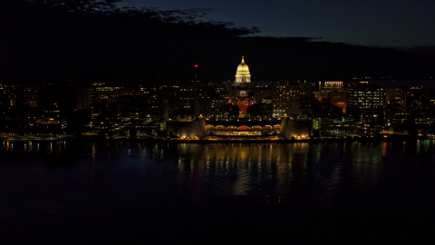 DXP002_162_0003 - Aerial stock photo of The convention center and capitol in downtown at night, Madison, Wisconsin