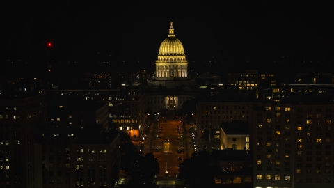 DXP002_162_0004 - Aerial stock photo of A view of the capital dome at night, Madison, Wisconsin