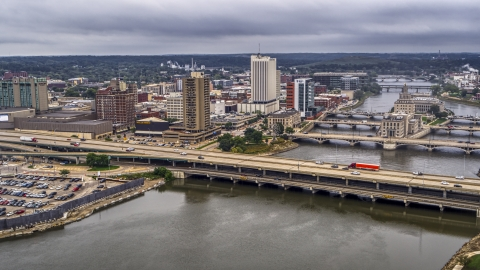 DXP002_164_0006 - Aerial stock photo of Apartment high-rise and bridges spanning the river, Downtown Cedar Rapids, Iowa