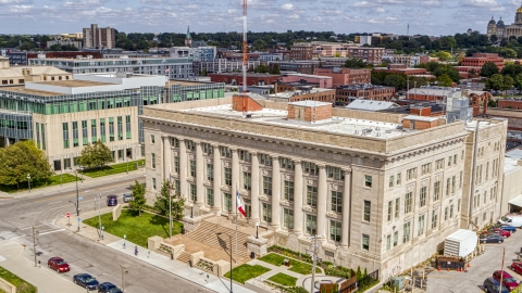 DXP002_165_0003 - Aerial stock photo of The Des Moines Police Department building in Des Moines, Iowa