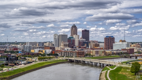 DXP002_165_0012 - Aerial stock photo of Cedar River bridge and a view of skyline, Downtown Des Moines, Iowa