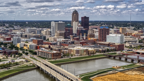 DXP002_165_0015 - Aerial stock photo of The city's skyline and bridges over the river, Downtown Des Moines, Iowa