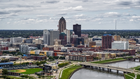 DXP002_165_0018 - Aerial stock photo of A view of the Cedar River and skyline of Downtown Des Moines, Iowa