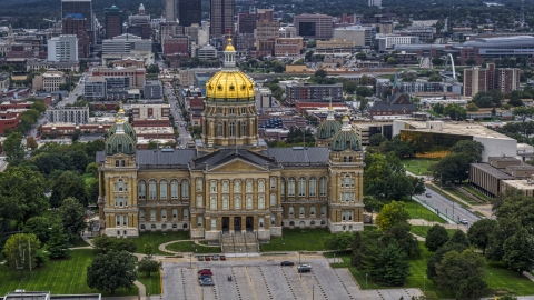 DXP002_166_0008 - Aerial stock photo of The front of the Iowa State Capitol with the city in the background, Des Moines, Iowa
