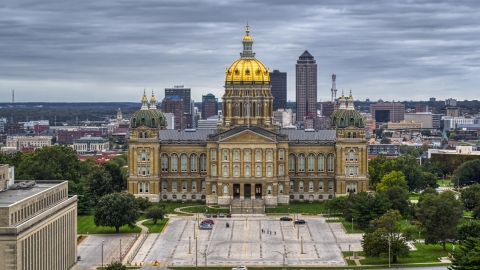DXP002_166_0009 - Aerial stock photo of The front side of the Iowa State Capitol building in Des Moines, Iowa