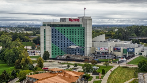 DXP002_169_0004 - Aerial stock photo of A hotel and casino in Council Bluffs, Iowa