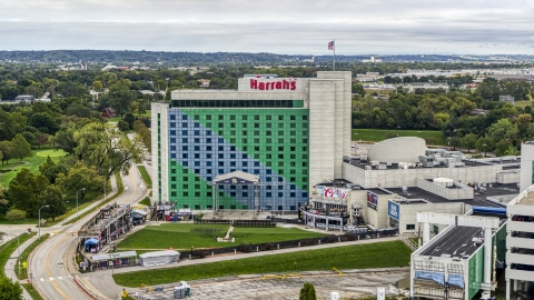DXP002_169_0013 - Aerial stock photo of The Harrah's hotel and casino in Council Bluffs, Iowa