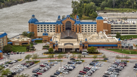 DXP002_170_0002 - Aerial stock photo of The Ameristar Casino in Council Bluffs, Iowa