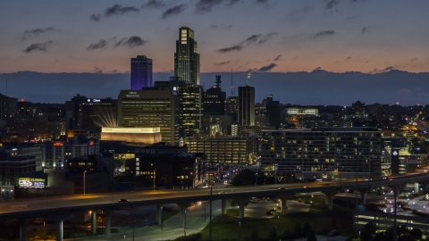 DXP002_173_0004 - Aerial stock photo of The city's skyline at twilight in Downtown Omaha, Nebraska