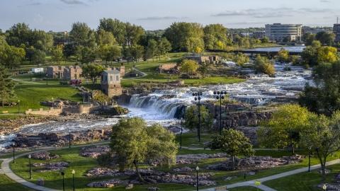 DXP002_176_0001 - Aerial stock photo of The falls at Falls Park at sunset in Sioux Falls, South Dakota