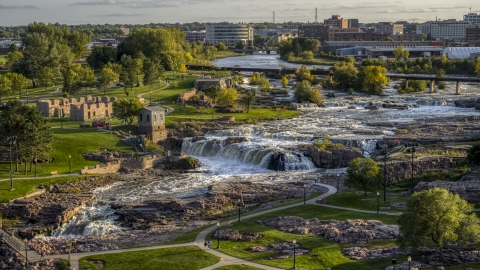 DXP002_176_0002 - Aerial stock photo of Falls Park at sunset in Sioux Falls, South Dakota
