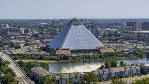 DXP002_177_0004 - Aerial stock photo of The Memphis Pyramid in Downtown Memphis, Tennessee