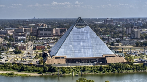 DXP002_177_0005 - Aerial stock photo of The waterfront Memphis Pyramid in Downtown Memphis, Tennessee