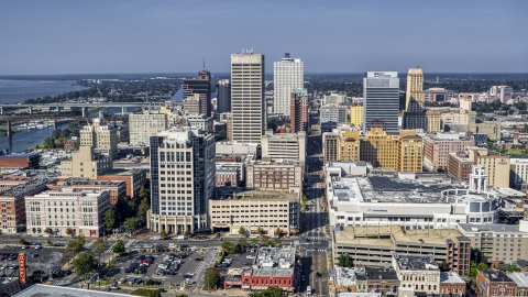 DXP002_179_0002 - Aerial stock photo of High-rise office towers in Downtown Memphis, Tennessee
