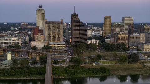 DXP002_181_0004 - Aerial stock photo of Apartment and office high-rises at sunset in Downtown Memphis, Tennessee