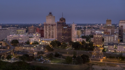 DXP002_182_0001 - Aerial stock photo of Office high-rises at twilight in Downtown Memphis, Tennessee