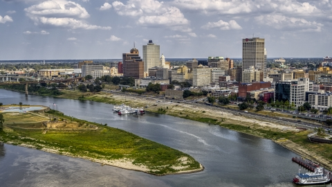 DXP002_183_0001 - Aerial stock photo of A wide view of the city's skyline, Downtown Memphis, Tennessee