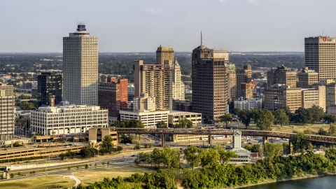 DXP002_185_0001 - Aerial stock photo of A view of the skyline at sunset, Downtown Memphis, Tennessee