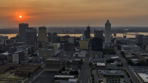 DXP002_186_0003 - Aerial stock photo of The downtown skyline and the setting sun, Downtown Memphis, Tennessee