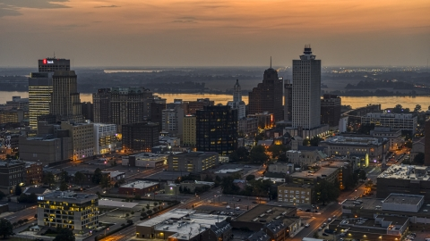 DXP002_187_0002 - Aerial stock photo of A view of the city's downtown skyline at twilight, Downtown Memphis, Tennessee