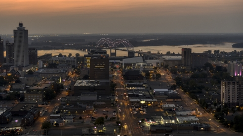 DXP002_187_0003 - Aerial stock photo of The Hernando de Soto Bridge, seen from Downtown Memphis, Tennessee at twilight