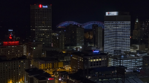DXP002_188_0003 - Aerial stock photo of City buildings between office towers at nighttime, Downtown Memphis, Tennessee