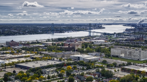 DXP002_190_0003 - Aerial stock photo of The Ambassador Bridge spanning the Detroit River, Detroit, Michigan