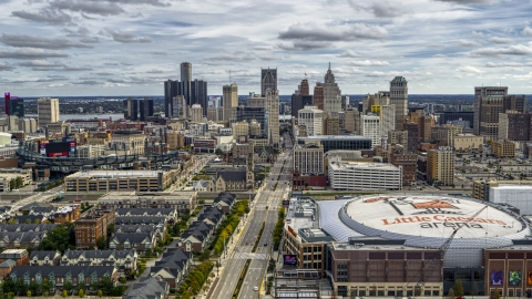 DXP002_191_0002 - Aerial stock photo of The city's downtown skyline seen from Little Caesars Arena, Downtown Detroit, Michigan