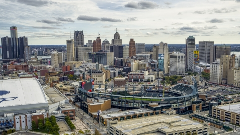 DXP002_191_0003 - Aerial stock photo of A view of baseball stadium and skyline, Downtown Detroit, Michigan