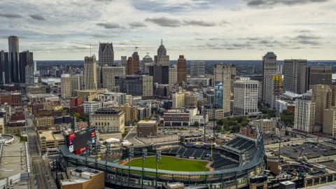 DXP002_191_0005 - Aerial stock photo of Comerica Park baseball stadium and the skyline, Downtown Detroit, Michigan