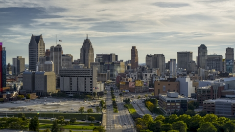 DXP002_192_0001 - Aerial stock photo of The city skyline seen from Gratiot Avenue at sunset in Downtown Detroit, Michigan