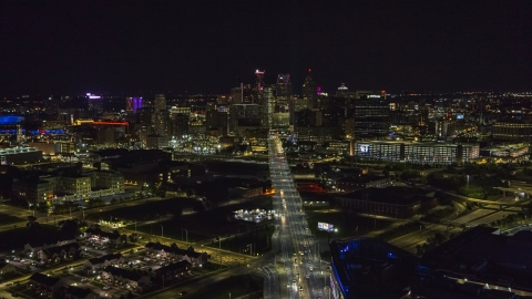 DXP002_193_0011 - Aerial stock photo of A wide view of the city's skyline at night, Downtown Detroit, Michigan