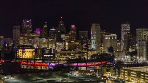DXP002_193_0016 - Aerial stock photo of Comerica Park and the skyline at night, Downtown Detroit, Michigan