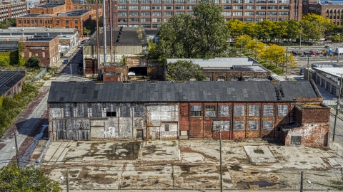 DXP002_194_0004 - Aerial stock photo of An abandoned factory building in Detroit, Michigan