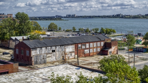 DXP002_194_0005 - Aerial stock photo of Abandoned factory building in Detroit, Michigan