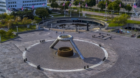 DXP002_196_0007 - Aerial stock photo of The fountain in Hart Plaza in Downtown Detroit, Michigan