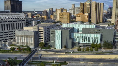 DXP002_196_0008 - Aerial stock photo of The Detroit Public Safety Headquarters in Downtown Detroit, Michigan