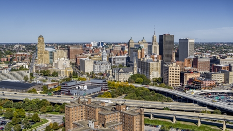 DXP002_200_0004 - Aerial stock photo of The city's skyline on the other side of the freeway, Downtown Buffalo, New York