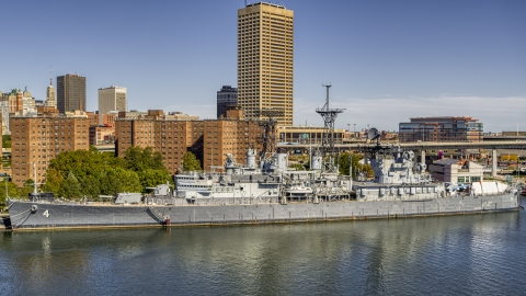 DXP002_200_0005 - Aerial stock photo of The USS Little Rock in Downtown Buffalo, New York