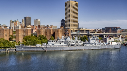 DXP002_200_0006 - Aerial stock photo of A view of the USS Little Rock in Downtown Buffalo, New York