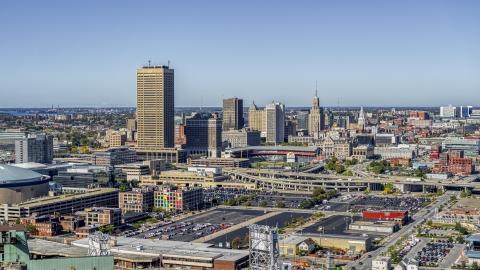 DXP002_201_0001 - Aerial stock photo of The city's skyline behind Sahlen Field, Downtown Buffalo, New York