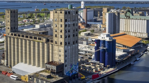 DXP002_201_0002 - Aerial stock photo of A riverfront grain elevator in Buffalo, New York