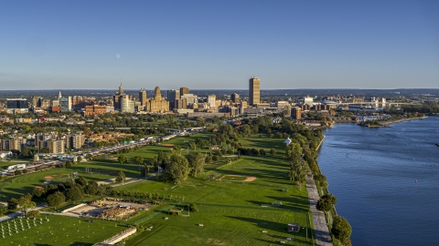 DXP002_203_0002 - Aerial stock photo of A wide view of the city skyline in Downtown Buffalo, New York