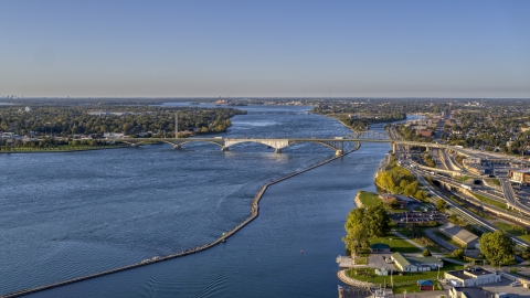 DXP002_203_0003 - Aerial stock photo of The Peace Bridge in Buffalo, New York