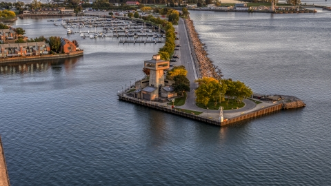 DXP002_204_0011 - Aerial stock photo of A lakeside observation deck at sunset, Buffalo, New York